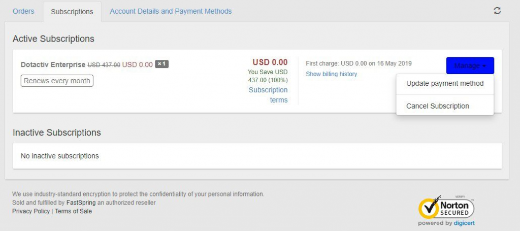 Managing Payment Details for DotActiv
