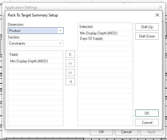 Pack To Target Summary Setup window
