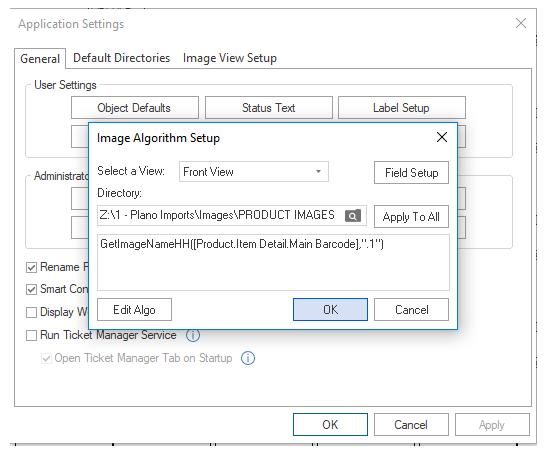 Image Algorithm Setup window